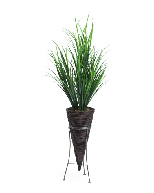 Tall Faux Dracena in Seagrass Cone