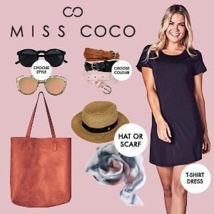 Miss Coco Showbag ($30) Includes:  Tote bag  Sunglasses  Belt