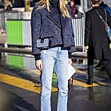 Long Straight-Leg Jeans + Sporty Leather High Tops