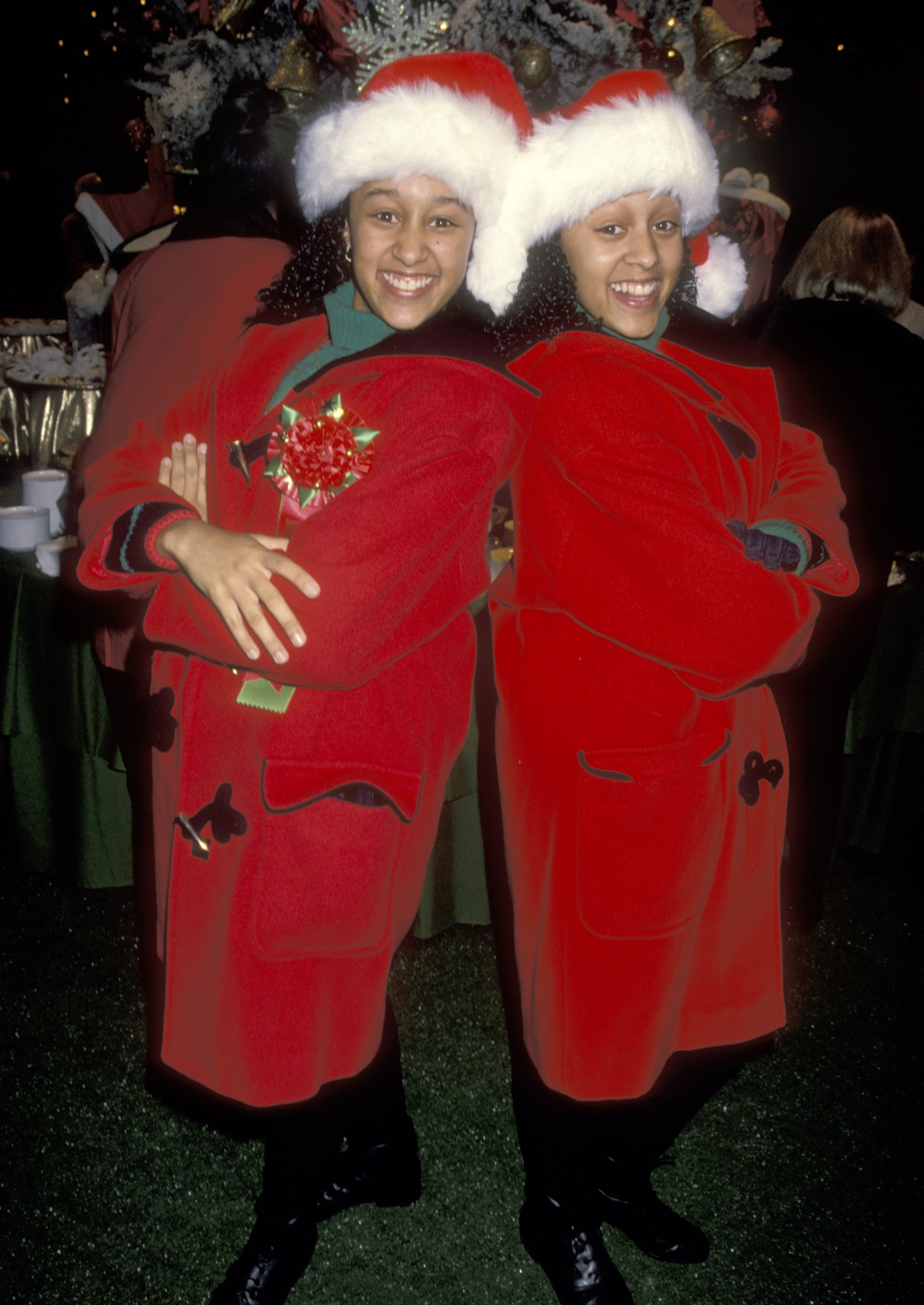 Actors Tamera Mowry and Tia Mowry attend the 63rd Annual Hollywood Christmas Parade on November 27, 1994 at KTLA Studios in Hollywood, California. (Photo by Ron Galella, Ltd./Ron Galella Collection via Getty Images)
