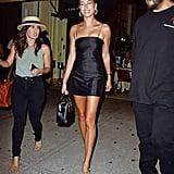 Hailey Baldwin's Black Dress and Tan Mules