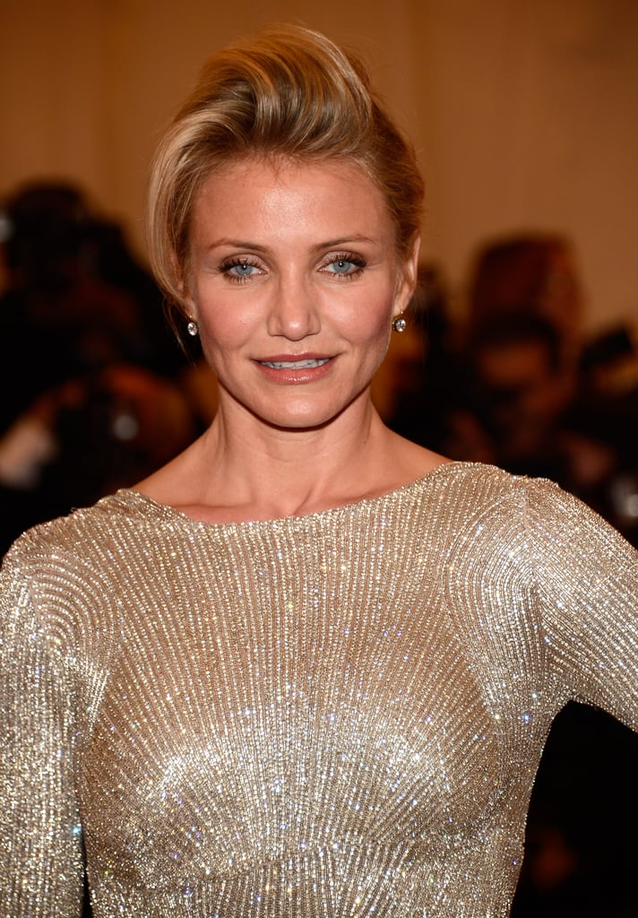 Cameron Diaz paired her gown with an updo.