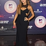 Ariana Grande's Cristiano Burani dress covered her Stuart Weitzman heels at the 2014 MTV Europe Music Awards.