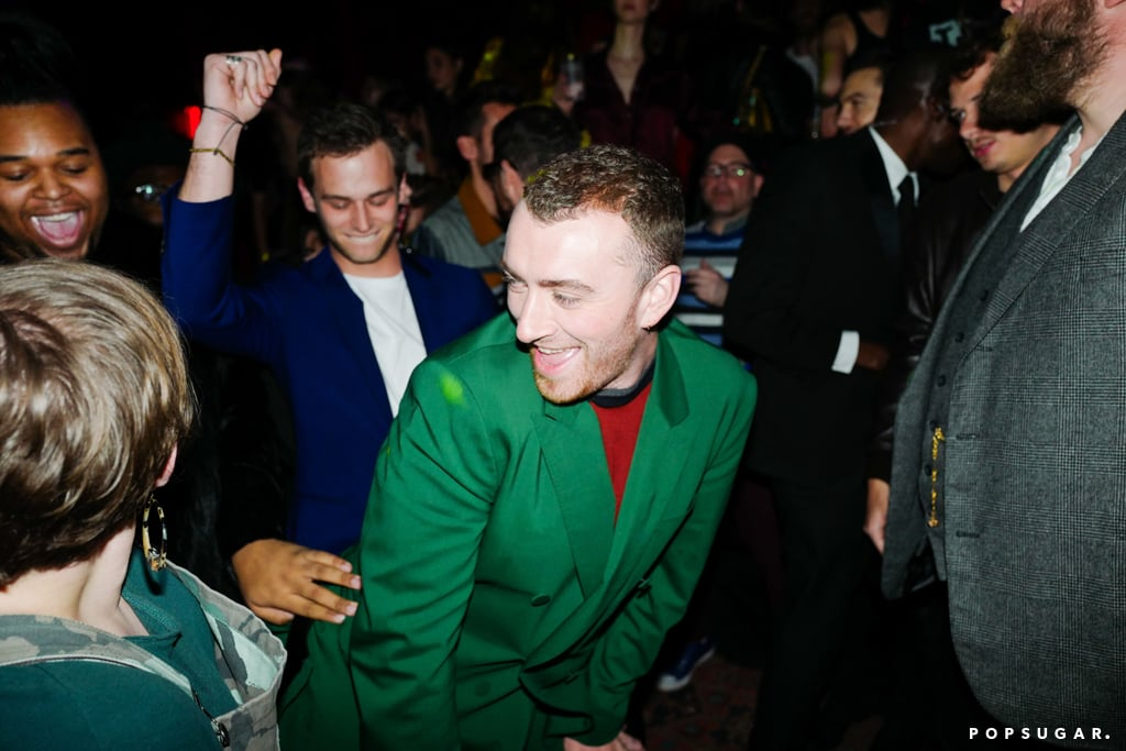 """Sam Smith may have hit the red carpet solo at the Grammys on Sunday, but he definitely wasn't alone. After taking the stage for a beautiful performance of his hit """"Pray,"""" the 25-year-old singer celebrated with his boyfriend, 13 Reasons Why star Brandon Flynn, who was in the audience with Lorde, Camila Cabello, and Janelle Monáe. Sam and Brandon first sparked dating rumors back in October 2017 when they were spotted holding hands and kissing in NYC, but it wasn't until two months later that they finally made their romance Instagram official. The star-studded ceremony also doubled as the pair's first official appearance together, but the fun didn't stop there. After the show, Sam and Brandon made their way to a Grammys afterparty, where they let loose and danced the night away.       Related:                                                                                                           If You Aren't Already Crushing On Brandon Flynn, You Will Be After Seeing These 35 Snaps"""