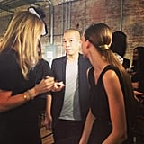 The man himself, Jason Wu, snapped backstage checking in with the Lancome makeup team.