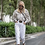 For a summery spin, pair a polka-dot top with white pants and sunglasses.
