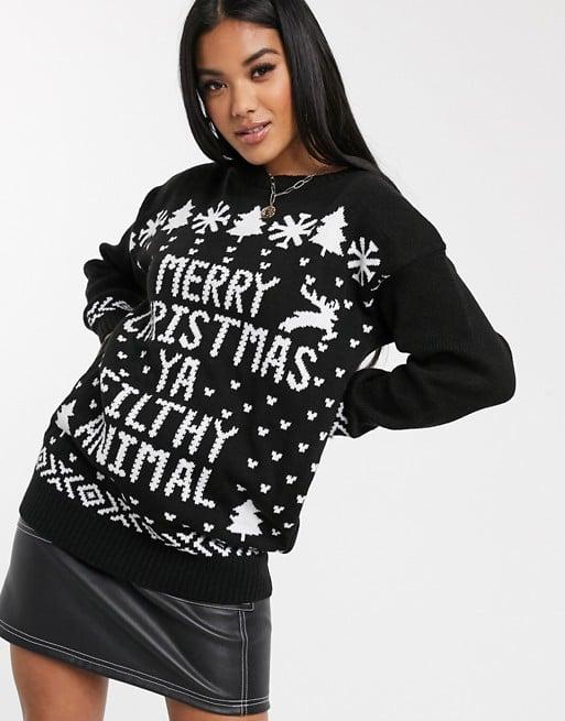 Boohoo Christmas Jumper With Slogan in Black