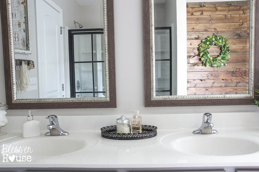 We Pulled Down The Builder Grade Mirror Which Now Resides In Our Rustic Bathroom Makeover