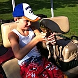 Jenny McCarthy showed the latest, and largest, frog her son Evan has caught on the golf course. Source: Twitter user JennyMcCarthy