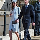Kate styled her coat with an acorn brooch.