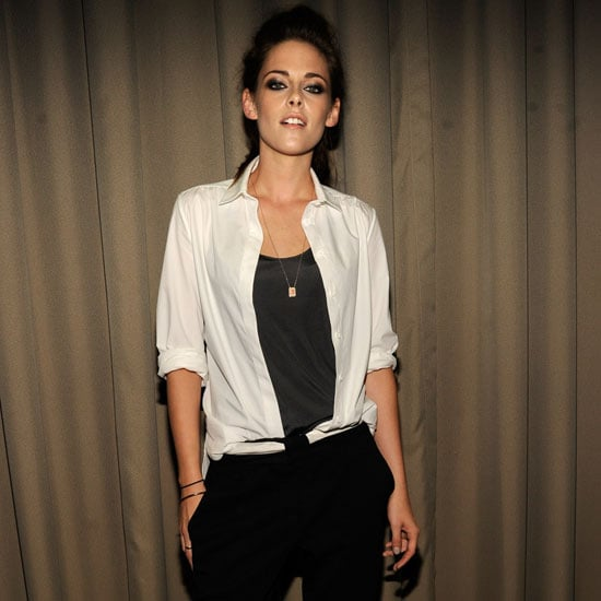 Kristen Stewart Wearing Cropped Black Trousers