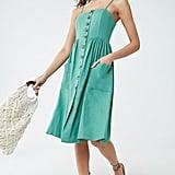 Button-Front Knee-Length Dress