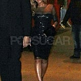 Beyonce Knowles wearing a sequin dress.