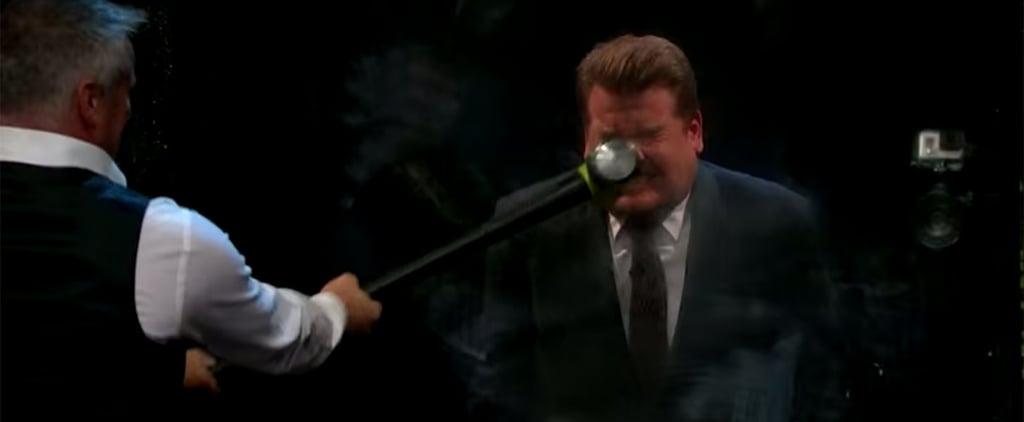 Matt LeBlanc Swings Sledgehammer at James Corden