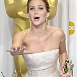 Jennifer Lawrence had a candid moment after her best actress win.