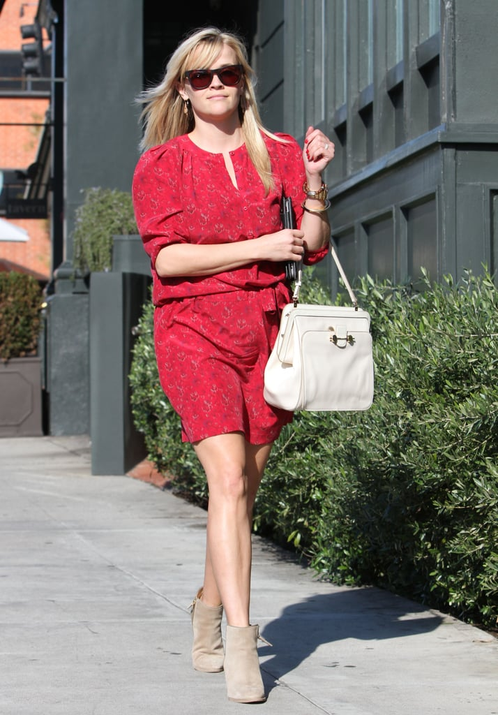 Reese Witherspoon sported a red print Vanessa Bruno dress with taupe booties and a white Jason Wu bag while out and about in LA. Don an equally casual-cum-cute style for a day date.