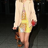 The Saturdays' Mollie King wore an  ASOS Mini Dress In Scarf Print for her flight from Glasgow to London.