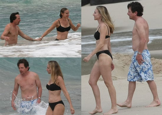 Shirtless Michael J. Fox and Wife Tracy Pollan in a Bikini in St. Barts