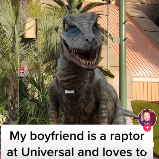 Man in a Raptor Costume Waves to His Girlfriend at Universal