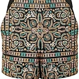 Topshop High-Waisted Embroidered Shorts