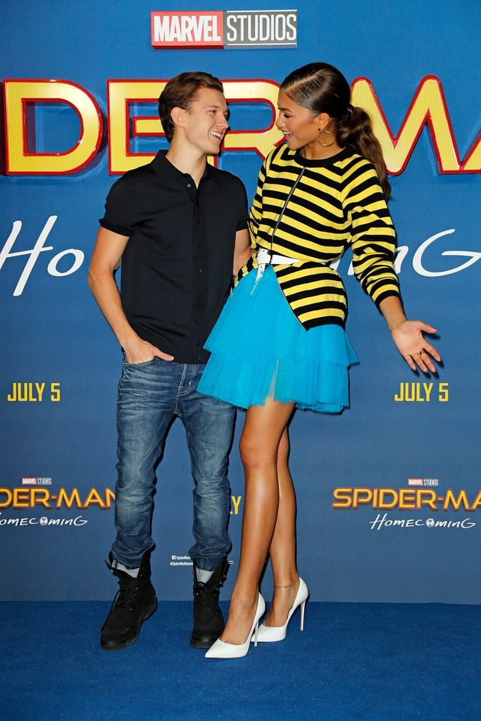 Zendaya and Tom Holland make a cute pair on and off screen. The duo have been sparking romance rumors ever since they first costarred in Spider-Man: Homecoming, and it seems like their onscreen romance has officially developed into a real one. In July, the costars were spotted sharing a kiss in LA, and in August, they looked pretty cuddly while attending a friend's wedding together. Though the two have yet to comment on romance rumors themselves, Tom's sweet birthday tribute for Zendaya speaks volumes.  Over the years, the two have shared some really cute moments together — including battling it out on stage during Lip Sync Battle and goofing off on the red carpet — and we're sure to get even more glimpses of their bond as as they promote their upcoming film, Spider-Man: No Way Home, in December. Until then, take a look at Zendaya and Tom's best moments together.      Related:                                                                                                           Now That Zendaya and Tom Holland Are Finally Dating, Let's Look Back at How They Got Here