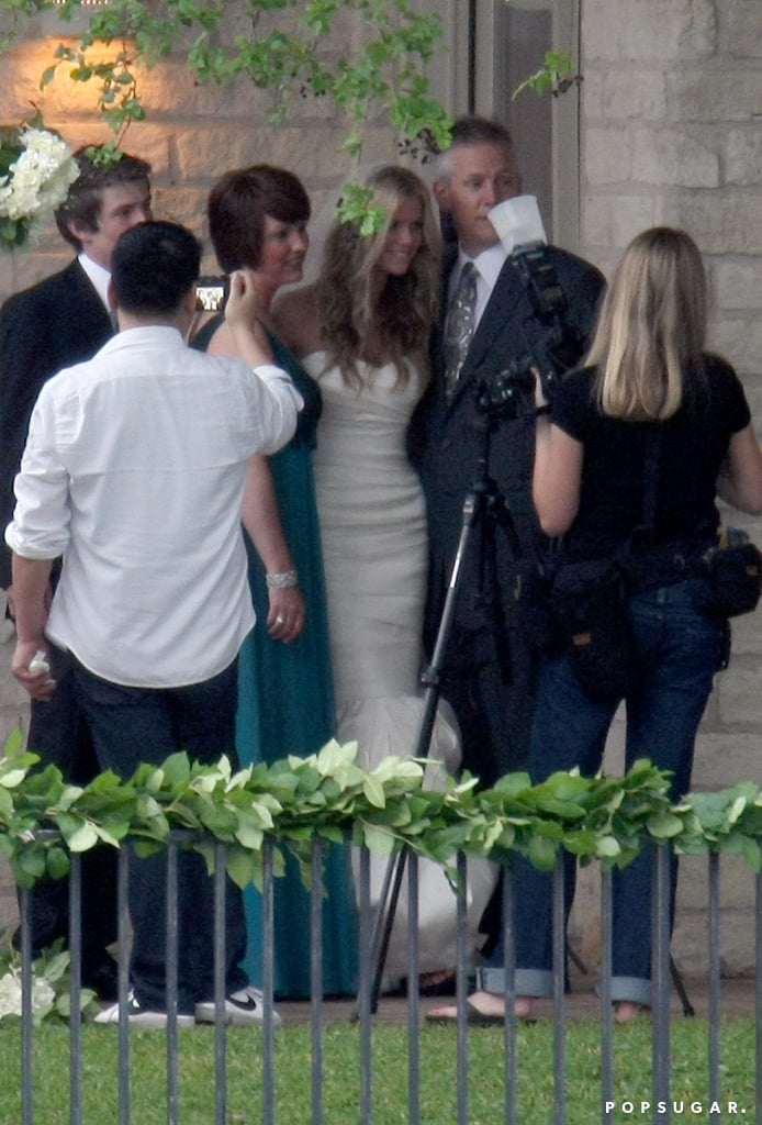 Brooklyn Decker wore white strapless Vera Wang for her big day with husband Andy Roddick in April of 2009 in Texas. How pretty is all that ruching?