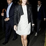Princess Eugenie paired her ensemble with a black leather jacket.