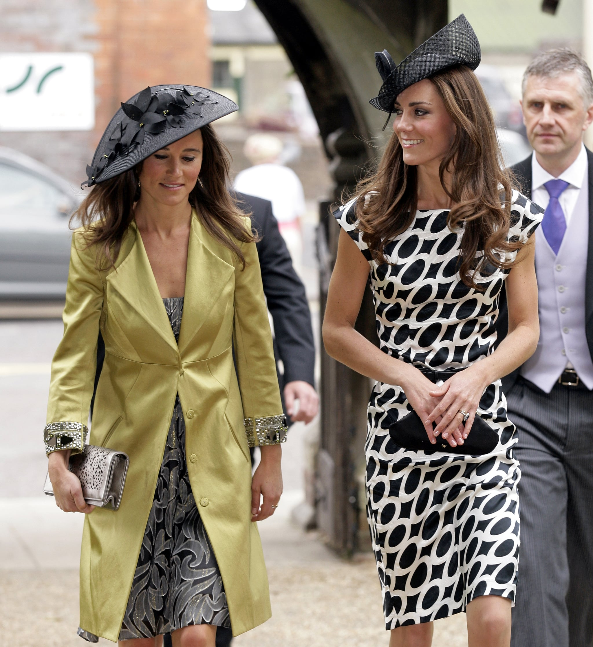 Pippa and Kate Middleton wore almost identical headpieces in July 2011 to watch their friend and jockey Sam Waley-Cohen tie the knot with Annabel Ballin in Berkshire, UK.