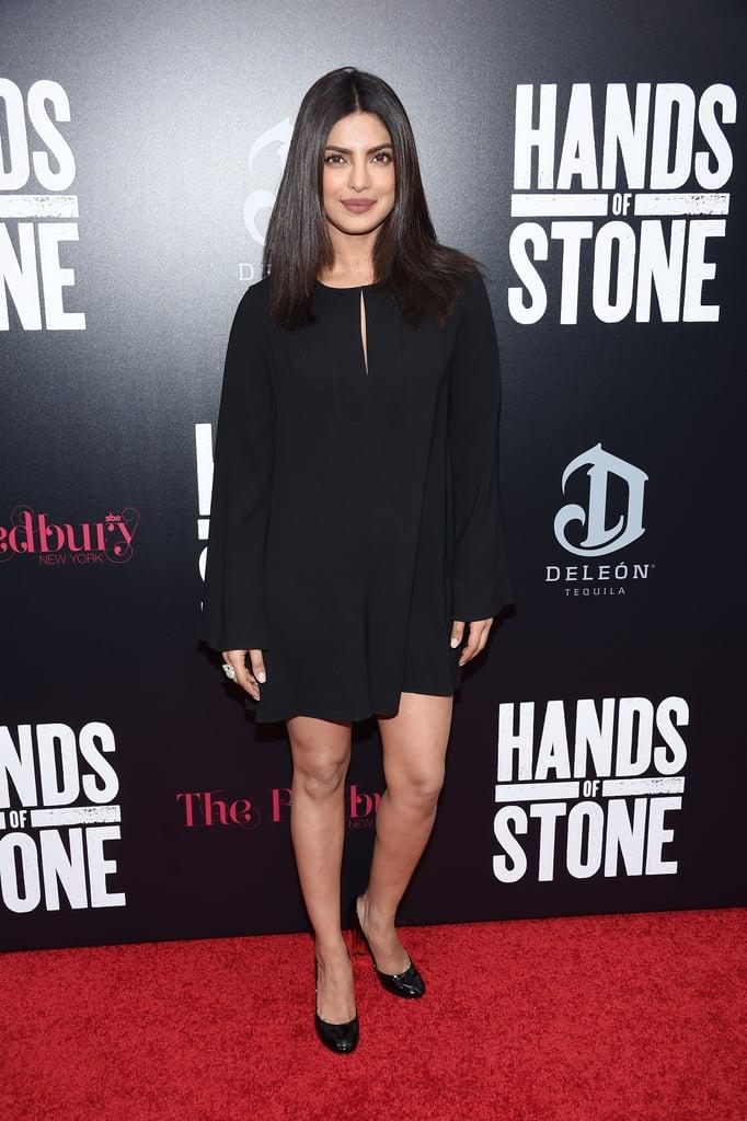 Priyanka Chopra's Black Dress at the Hands of Stone ...