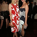 Jaime King went the ladylike route in a peplum-trimmed sheath, posing with a Wes Gordon-clad Katy Perry.