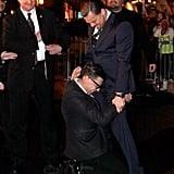 Leonardo DiCaprio Getting a Crotch Hug à la Bradley Cooper