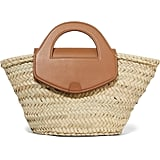 Hereu x Net Sustain Alqueria Leather-Trimmed Woven Straw Tote