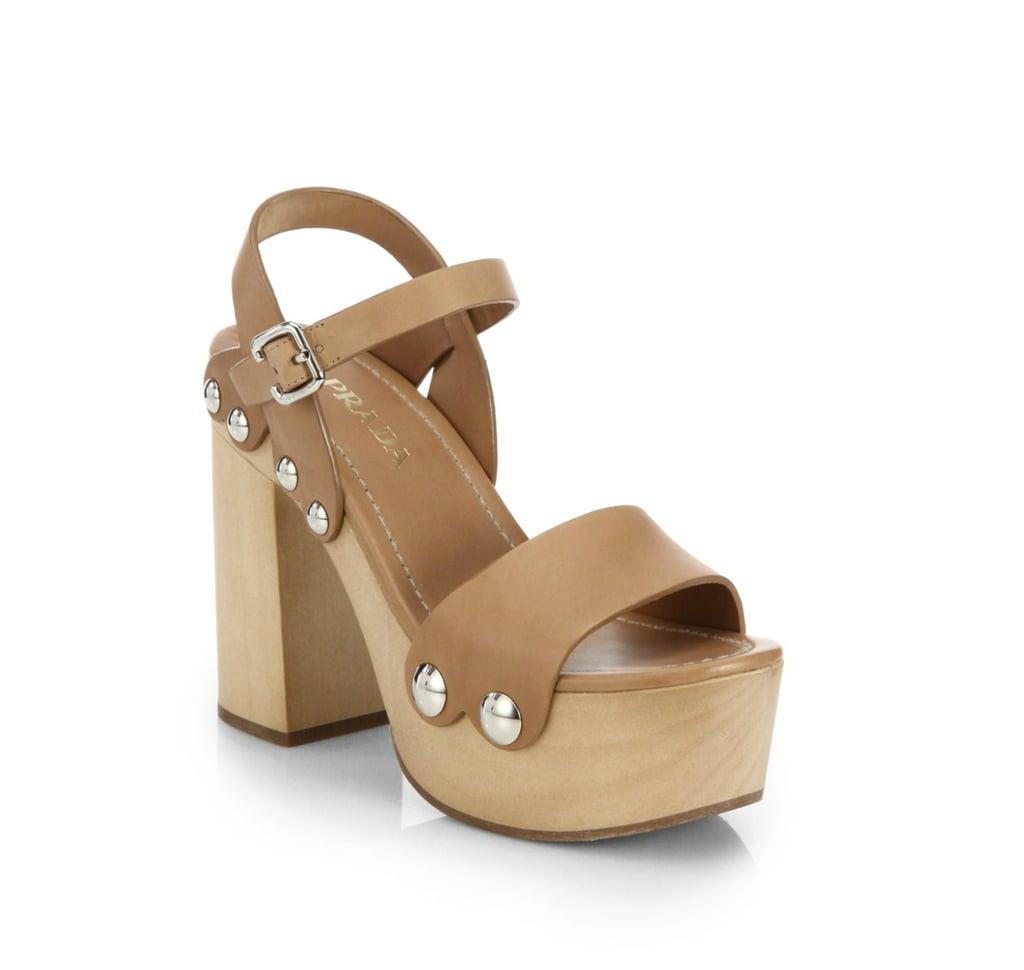 Prada Wooden-Heel Leather Platform Sandals ($690)