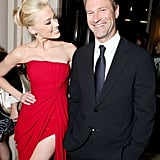 Amber Heard enjoyed Aaron Eckhart's company at the LA premiere of The Rum Diary.