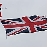 The Union Jack waved in the sky.