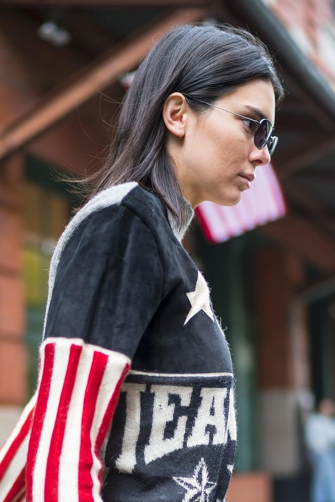 6b2337fc200c Kendall Jenner American Flag Sweater
