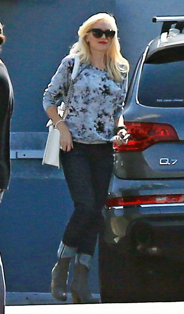 """Gwen Stefani smiled leaving a rehearsal studio in Burbank yesterday. No Doubt's currently practicing for their upcoming shows in Germany and LA. They're scheduled to perform at the MTV EMAs on Nov. 11, then will jet back to the West Coast to headline seven sold-out shows at LA's Gibson Amphitheatre. The group recently talked about their upcoming gigs, saying, """"Everyone is in top form. It's going to be an amazing time and a chance for us to show to the world why we're so proud of our new album. And it's always awesome to do what we love most, which is play live."""" Hopefully, the gang will be able to take a break from work for some much deserved holiday fun. Gwen's one of our favorite celebrities who dress up for Halloween — and in the past we've seen her step out as Cinderella, a fried egg, and even a cowgirl."""