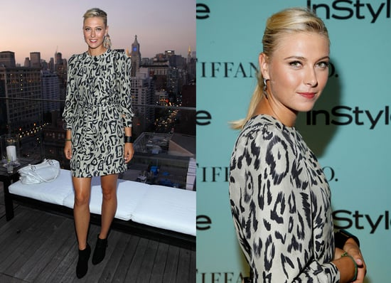 Maria Sharapova Attends Tiffany Party Wearing Chloe Leopard Dress