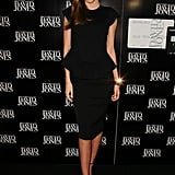 Black-on-black-on-gorgeous, Miranda donned a peplum dress, complete with fitted pencil skirt, and ankle-strap sandals at a David Jones workshop in Australia.