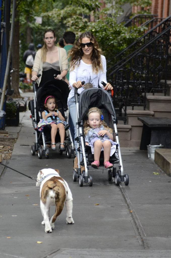 Sarah Jessica Parker took her twin daughters, Tabitha and Loretta, to school this morning in NYC. The actress had a nanny along to wheel the two strollers side by side as they walked through the Parker-Brodericks' Manhattan neighborhood. Sarah Jessica has been spending most of her time in recent weeks close to home with her kids, but tonight, her episode of Glee will air.  Fans got a brief sneak peek at Sarah Jessica in character as a fashion editor in a recent ad for the series, but not much else has been revealed about the episode so far. SJP is one of many boldfaced names to make an appearance on the show. Past guest stars have included Britney Spears and Gwyneth Paltrow, and Kate Hudson already appeared on the musical comedy this season.