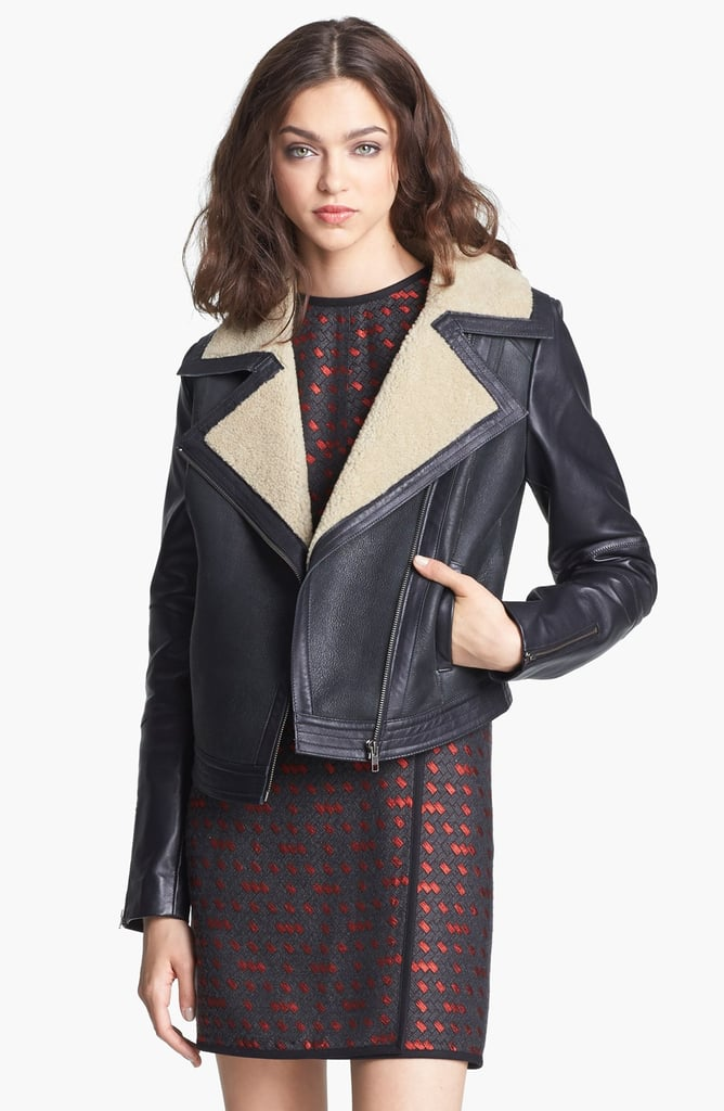 We love the idea of layering with this shearling lined moto jacket ($1,295) to give your outfit an instant edge. Bonus points: it'll keep you warm as the temperature dips at night.