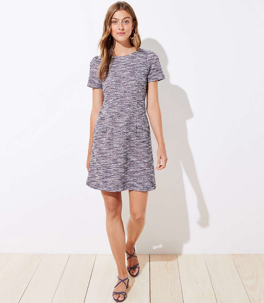 Lof Textured Puff Sleeve Flare Dress