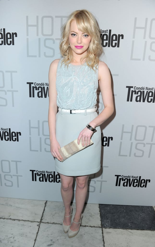 Give pretty pastels a boost with white accessories and a coral lip; see how they play against Emma's sweet Preen sheath?