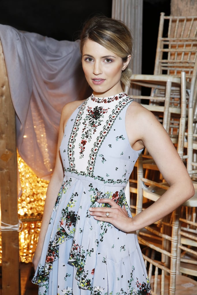 Ever since news of Dianna Agron's engagement to Mumford & Sons singer Winston Marshall broke in January, the world has been waiting to get a peek  at her diamond stunner. On Monday, the former Glee star used an outing at London Fashion Week as an opportunity to finally show off her impressive bling. While posing for photos at Erdem's runway show, Dianna nearly blinded photographers when she casually flaunted her massive diamond solitaire, which was set in a gold band. The actress reportedly got engaged over the holidays in 2015, but this is the first time she's given us a glimpse at her ring. Keep reading for an up-close look at the gorgeous sparkler, and then check out the best celebrity engagement rings of all time.
