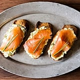 Smoked Salmon on Mustard-Chive-Dill Butter Toasts