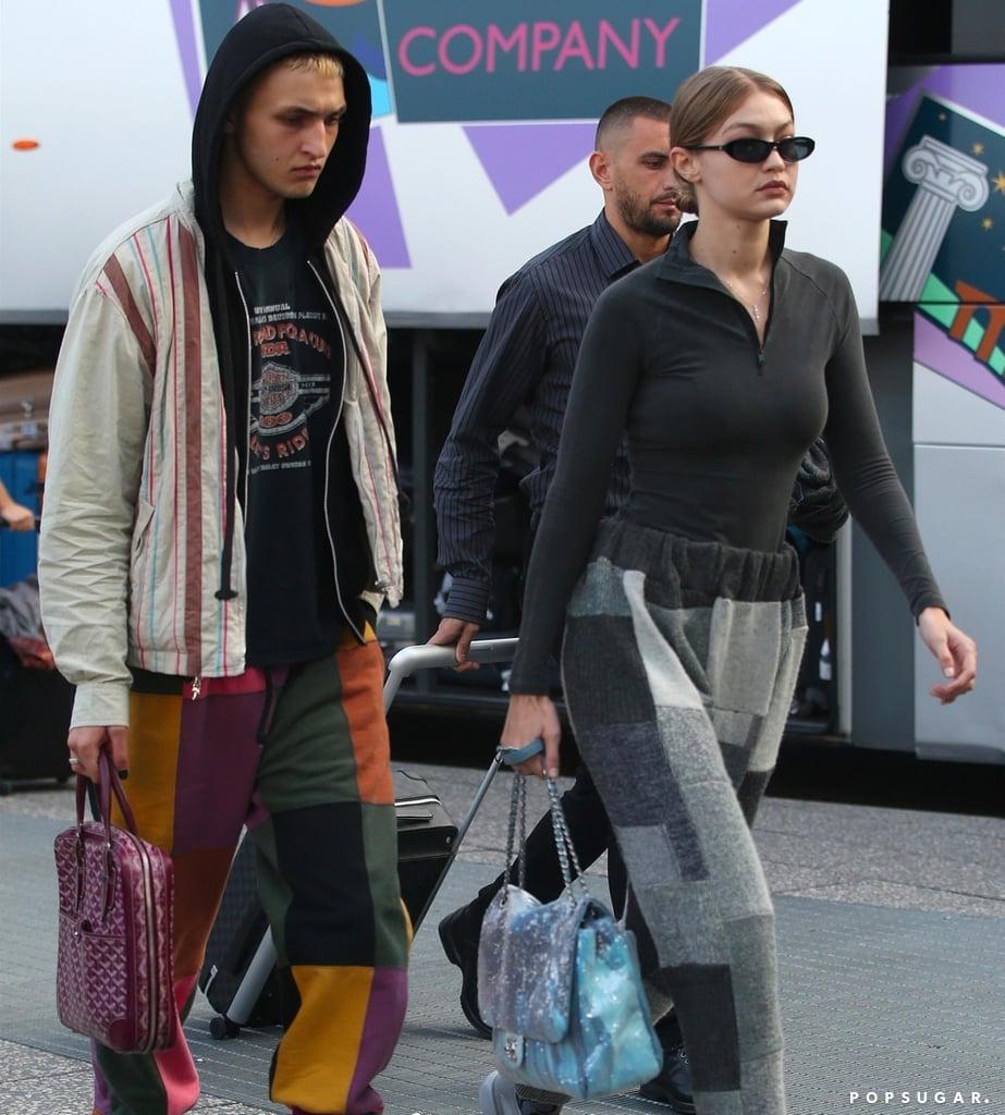 Gigi and Anwar Hadid Patchwork Pants in Milan