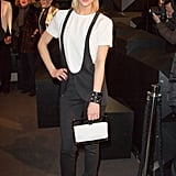 Leigh Lezark worked black and white at Karl Lagerfeld's concept store opening during PFW.