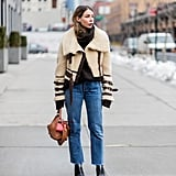 A Shearling Jacket, Cropped Jeans, and Ankle Boots