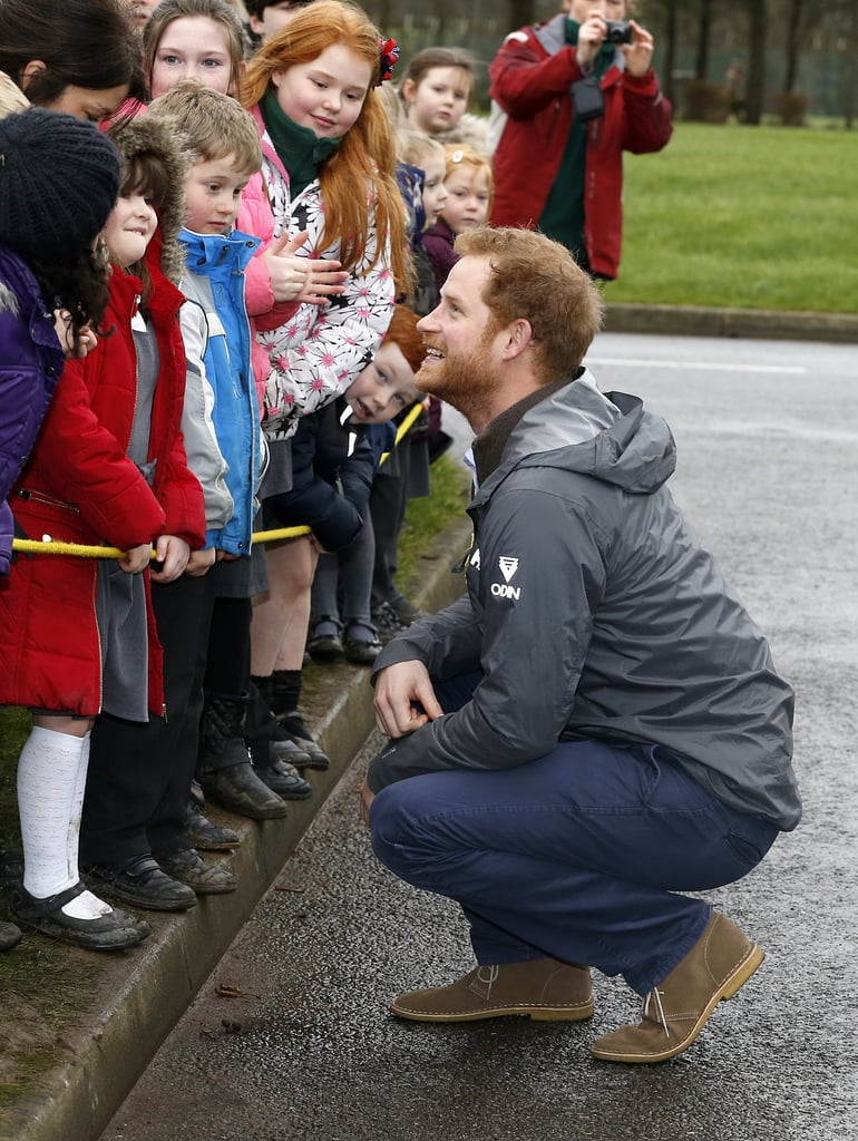 "Prince Harry's royal charm truly knows no bounds. The 31-year old paid a visit to Lancashire, England, on Friday and met with local residents and soldiers at the Weeton Barracks; the Lancashire area was ravaged by flooding for more than four weeks in December, and nearly 500 soldiers gave up their Christmases with family to help others. Harry turned on the charm for the Army officers and was even more delightful while meeting a 97-year-old woman named Winifred Hodson and a group of children living on the base. The little ones were reportedly told that they would be meeting ""a real-life prince"" that day, and they couldn't have looked happier to be eye-to-eye with Harry, who knelt down to chat with them. An eyewitness told the Telegraph that the kids asked him a series of questions including ""What's your favourite football team?"" ""Where's your crown?"" and ""How much money do you have?"" Harry hilariously told the children that he could not answer the last question. Keep reading for all of Harry's sweet, silly photos from the visit, then check out his best moment with his grandfather Prince Philip."