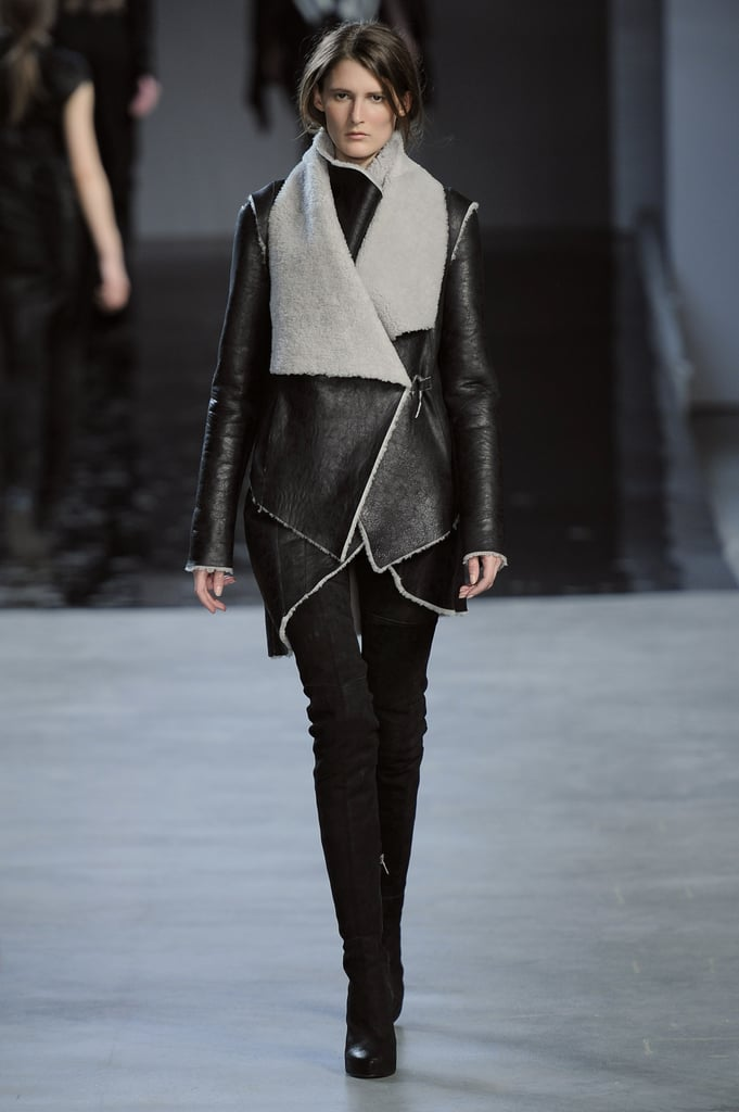 Perhaps the perfect shearling for the downtown cool girl: it's got a slim fit, beautiful drape, cool asymmetrical tailoring, and a chic gray on black tone. Thank you, Helmut Lang.